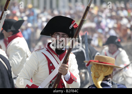 A member of the Spanish forces clearly enjoying himself during a reenactment of the 1797 battle of Santa Cruz, Tenerife