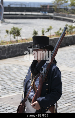 A female member of the English forces marching during a reenactment of the 1797 battle of Santa Cruz, Tenerife