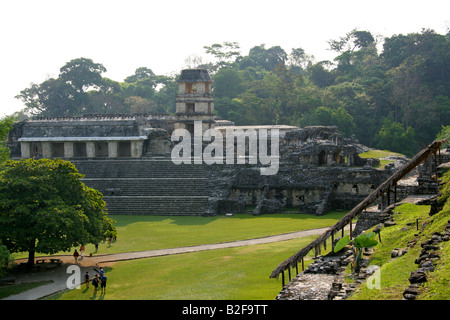 The Palace, Palenque Archeological Site, Chiapas State, Mexico - Stock Photo