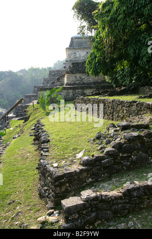 Temple XIII, Palenque Archeological Site, Chiapas State, Mexico - Stock Photo