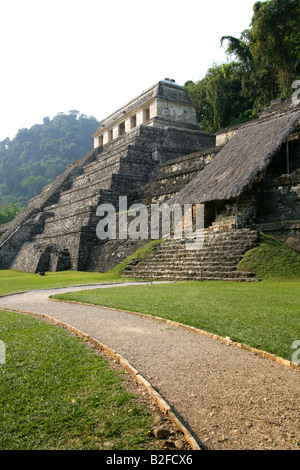 Temple of Inscriptions and Temple XIII from the Palace, Palenque Archeological Site, Chiapas State, Mexico. - Stock Photo