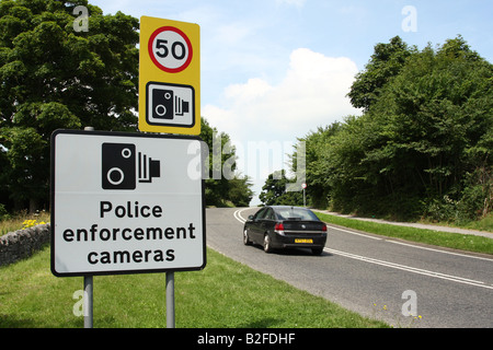 Roadside speed restriction sign on the A6 in Derbyshire, England, U.K. - Stock Photo