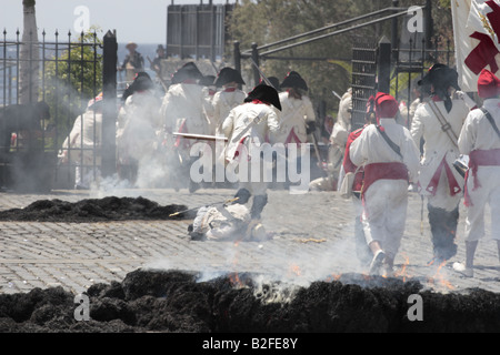 The Batallon de Canarias chase the English troops during a reenactment of the 1797 battle of Santa Cruz