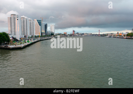 View of Rotterdam city skyline river Maas water, Netherlands, syscraper building - Stock Photo