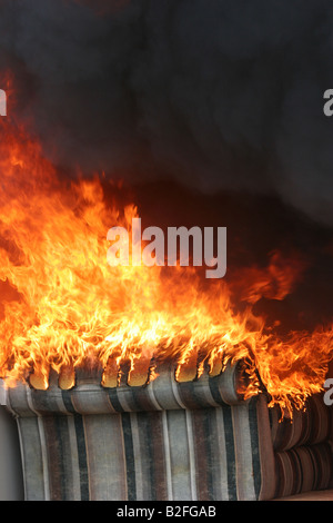 Elegant ... A Living Room Upholster Chair On Fire   Stock Photo