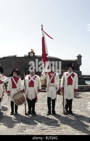 The Drummer and Flag Bearer of the Batallon de Canarias in front of the Castillo Negro before a reenactment of the 1797 battle of Santa Cruz Tenerife