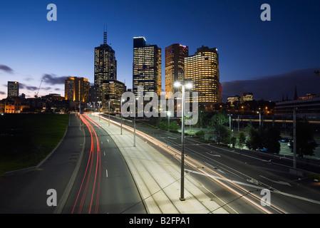 Traffic trails - Melbourne, Victoria, AUSTRALIA - Stock Photo