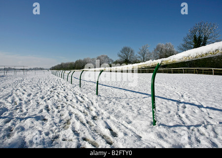 Warwick racecourse in the snow Warwick England UK - Stock Photo