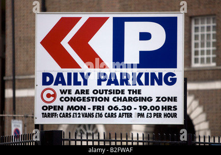 Parking sign outside the Congestion Charging Zone in London England UK - Stock Photo