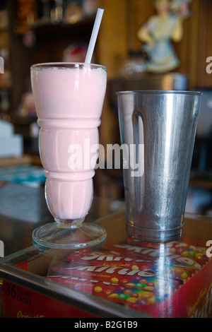 strawberry malt in a old fashioned glass from the Old Malt Shop in Baltimore MD - Stock Photo