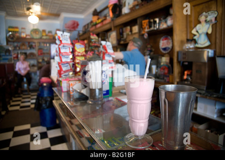 strawberry malt in old fashioned glass from the Old Malt Shop in Baltimore MD - Stock Photo