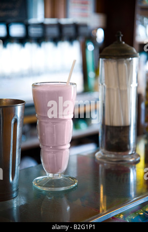 strawberry malt in old fashioned glass from the Old Malt Shop in Baltimore - Stock Photo