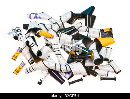 time for film (material, analog) is over - Opened rolls of 120 medium format films  yellow white black - Stock Photo