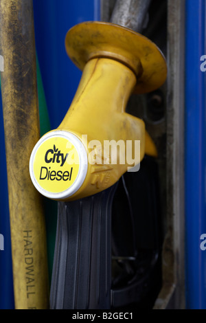 handle of city diesel fuel pump at a garage service station county down northern ireland - Stock Photo