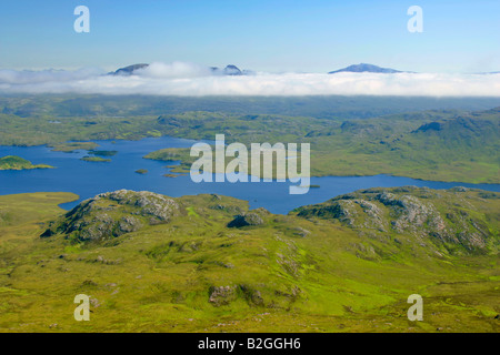 panoramic view lakelands lake landscape Inverpolly Nature Reserve Stac Pollaidh highlands Wester Ross Highlands - Stock Photo