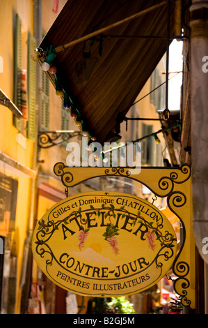 an atelier in a narrow street of Old Town of Nice, Cote a'Azur, France - Stock Photo
