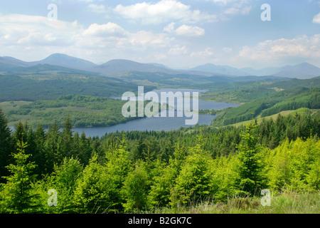 Loch Garry woodlands lakeland mountains Lochaber Highlands Scotland UK landscape scenery - Stock Photo