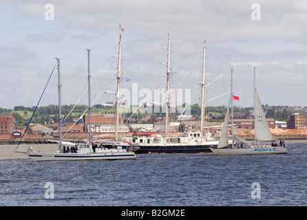 Tall Ship Lord Nelson with Gedania and Esprit in the River Mersey at the Start of the tall Ships Race Liverpool - Stock Photo