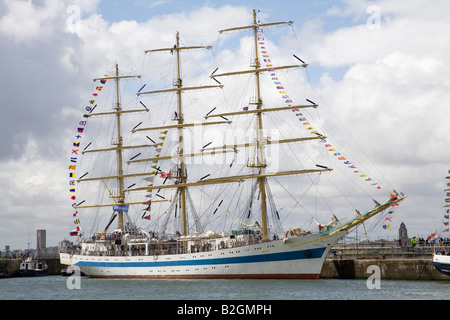 Liverpool Merseyside England UK July Mir three masted square rigged training ship from Russia an entrant in Tall - Stock Photo