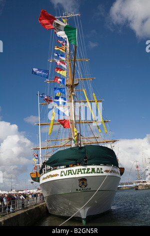Liverpool Merseyside England UK July Cuauhtemoc a Mexican Navy training ship and an entrant in the Tall Ships Race - Stock Photo