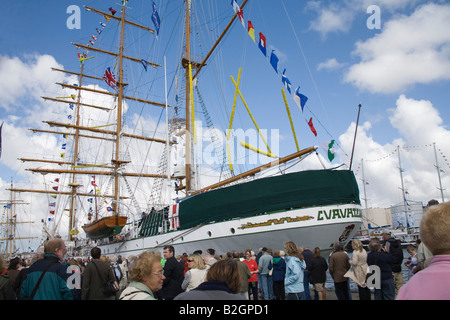 Liverpool Merseyside England UK July Visitors queuing to go aboard Cuauhtemoc a Mexican Navy training ship - Stock Photo