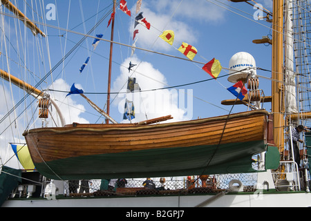 Liverpool Merseyside England UK July Polished wooden lifeboat of Cuauhtemoc a Mexican Navy training ship entrant - Stock Photo