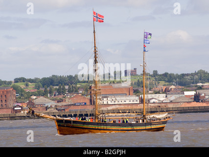 The Norwegian Tall Ship Svanhild Leaving the River Mersey in Liverpool at the Start of the Tall Ships Race England - Stock Photo