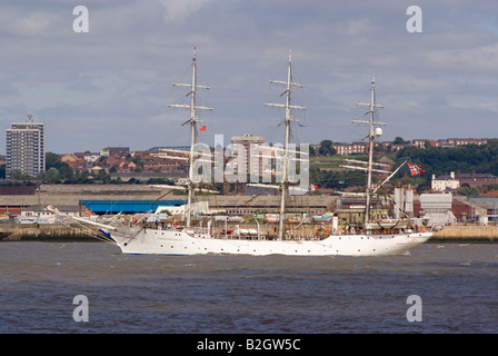 The Norwegian Tall Ship Christian Radich Leaving the River Mersey in Liverpool at the Start of theTall Ships Race - Stock Photo