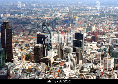 An Aerial View of The City of London looking North East - Stock Photo