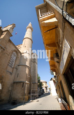 NORTH CYPRUS. A street in North Nicosia, with the Selima Mosque on the left. 2008. - Stock Photo