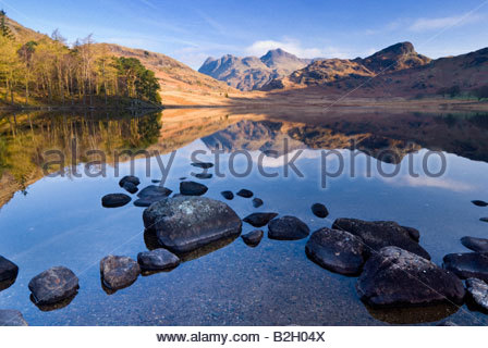The Langdale Pikes reflected in the waters of Blea Tarn, Lake District National Park, Cumbria, England, UK. - Stock Photo