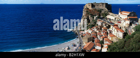 A panoramic view over the south Italian coastal village of Scilla Calabria Italy - Stock Photo