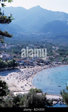 Golden beach, Thassos, Greece - Stock Photo