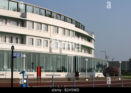 Close up view of the front of the Midland hotel, Morecambe. - Stock Photo