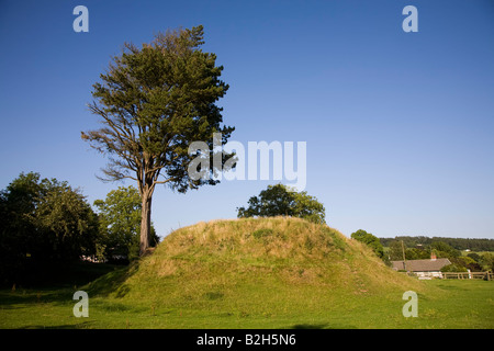Castle mount or tump turret site of motte and bailey castle in 13th century Trellech Wales UK - Stock Photo