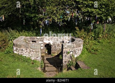 The Virtuous Well or St Anne's Well 17th century and still dressed with strips of coloured cloth Trellech Wales - Stock Photo