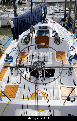 View of the inside of a sailboat from behind or aft - Stock Photo