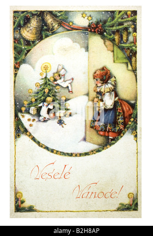 Postcard motive Observing the christmas angels 19th century Germany - Stock Photo