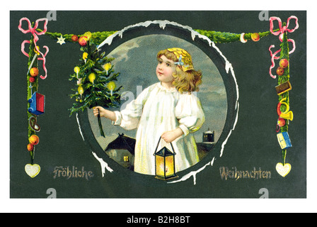 Postcard motive Christmas joy for the children 19th century Germany - Stock Photo