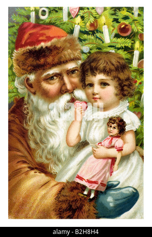 Postcard motive Father Christmas makes the hearts of children happy 19th century Germany - Stock Photo