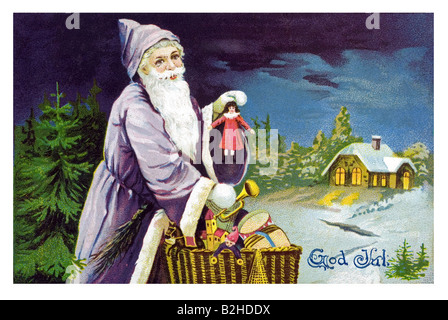 Postcard motive Father Christmas brings the presents in a basket 19th century Germany - Stock Photo