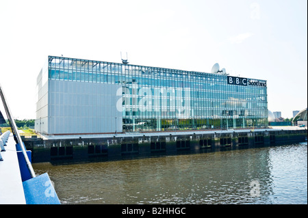 The new BBC Scotland headquarters building at Pacific Quay on the River Clyde in Govan Glasgow Scotland - Stock Photo