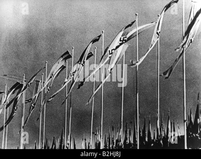 Nazism / National Socialism, Nuremberg Rallies, 'Rally of Greater Germany', 5.9.1938  - 12.9.1938, flags of Hitler - Stock Photo