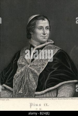 Pius IX., 13.5.1792 - 1792 - 7.2.1878, Italian pope, since 16.6.1846, half length, steel engraving by Carl Mayer, - Stock Photo