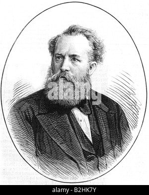 Palleske, Emil, 5.6.1823 - 28.10.1880, German author / writer and actor, portrait, wood engraving after photograph - Stock Photo