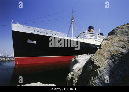 transport / transportation, navigation, ships, RMS Queen Mary, Long Beach, Los Angeles, California, USA, 1970s, - Stock Photo