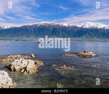 geography / travel, New Zealand, Kaikoura peninsula, snow, mountains, landscape, landscapes, sea - Stock Photo