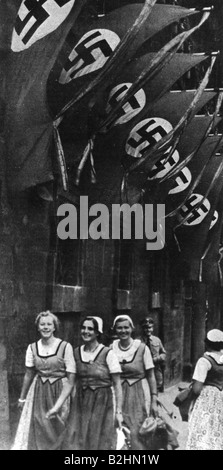 Nazism / National Socialism, Nuremberg Rallies, 'Rally of Greater Germany', 5.9.1938  - 12.9.1938, women in national - Stock Photo