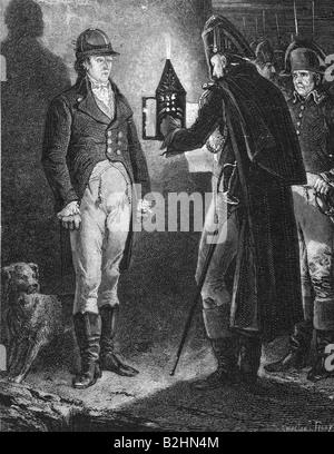 Louis Antoine Henri, 2.8.1772 - 21.3.1804, Duke of Enghien, execution, Vincennes 21.3.1804, reading the death warrant, - Stock Photo