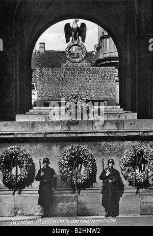 geography/travel, Germany, Munich, Feldherrnhalle, memorial with SS guard of honour, postcard, 1930s, , Additional - Stock Photo